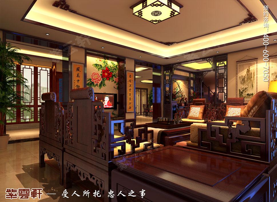 北京湾别墅复古中式装修效果图,客厅中式装修效果图