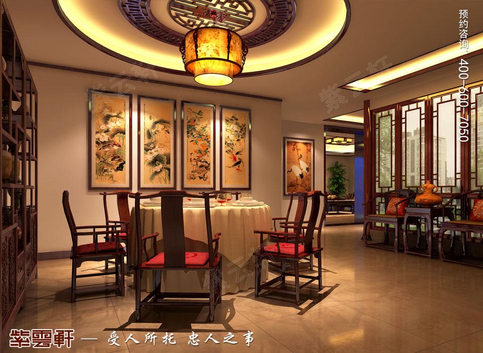 北京湾别墅复古中式装修效果图,中式餐厅装修设计