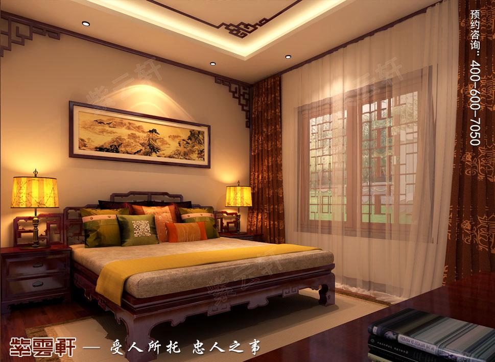 北京湾别墅复古中式装修效果图,老人房中式装修图