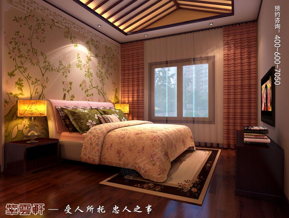 北京湾别墅复古中式装修效果图,女儿房中式装修效果图