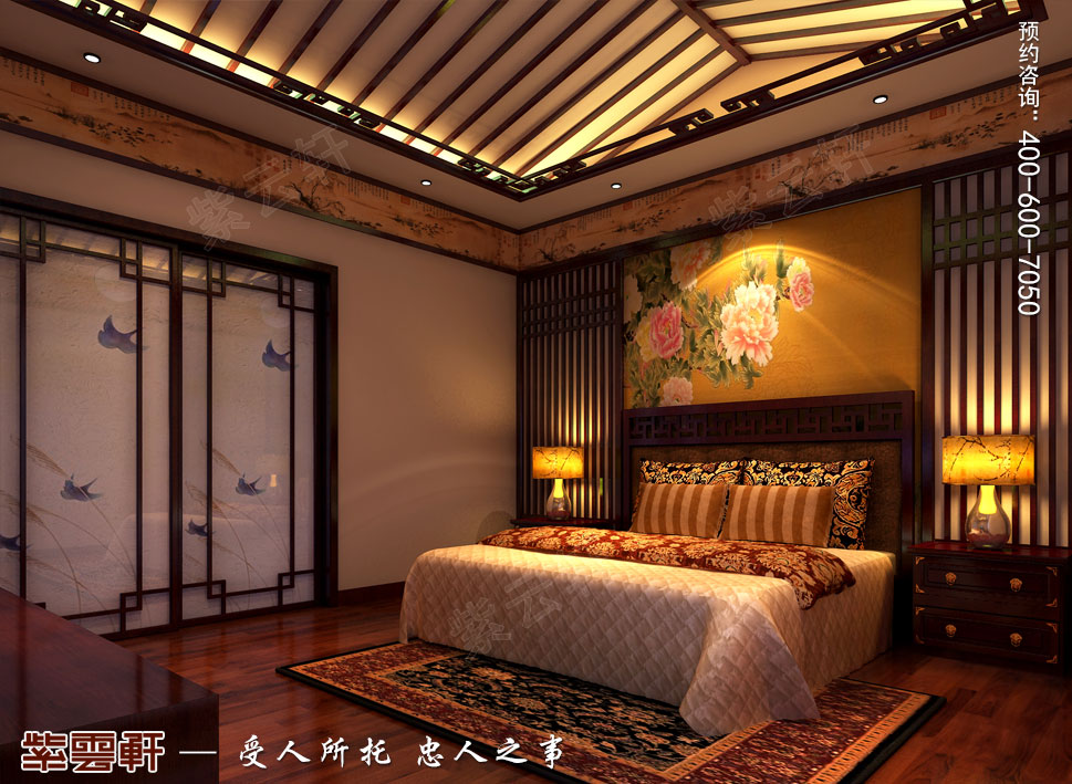 北京湾别墅复古中式装修效果图,中式风格主卧装修