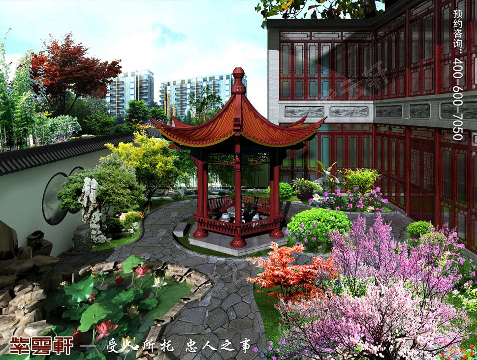 北京湾别墅复古中式装修效果图,庭院中式设计图