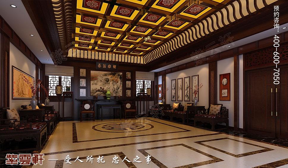 江苏扬中别墅古典中式装修效果图,客厅中式装修设计