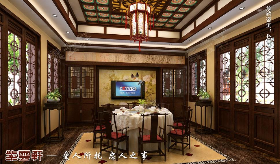 江苏扬中别墅古典中式装修效果图,中式风格餐厅设计图