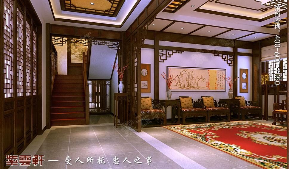 江苏扬中别墅古典中式装修效果图,楼梯间中式设计