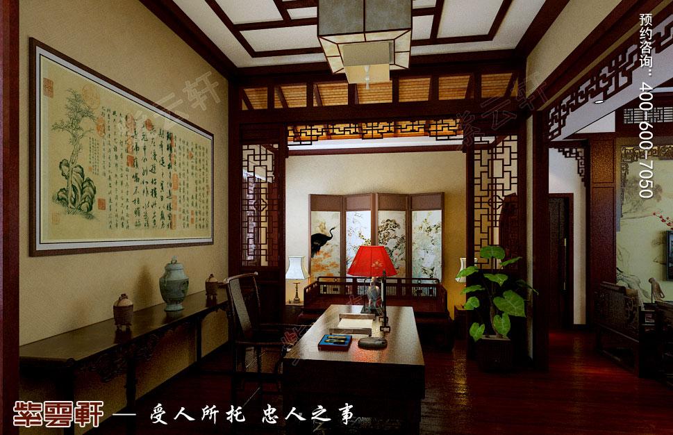 江苏扬中别墅古典中式装修效果图,书房中式设计
