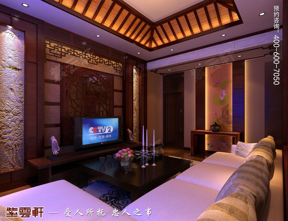 江苏扬中别墅古典中式装修效果图,影音室中式设计