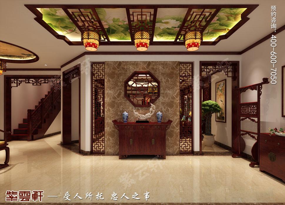 江苏昆山天伦随园古典中式装修风格,玄关中式风格设计