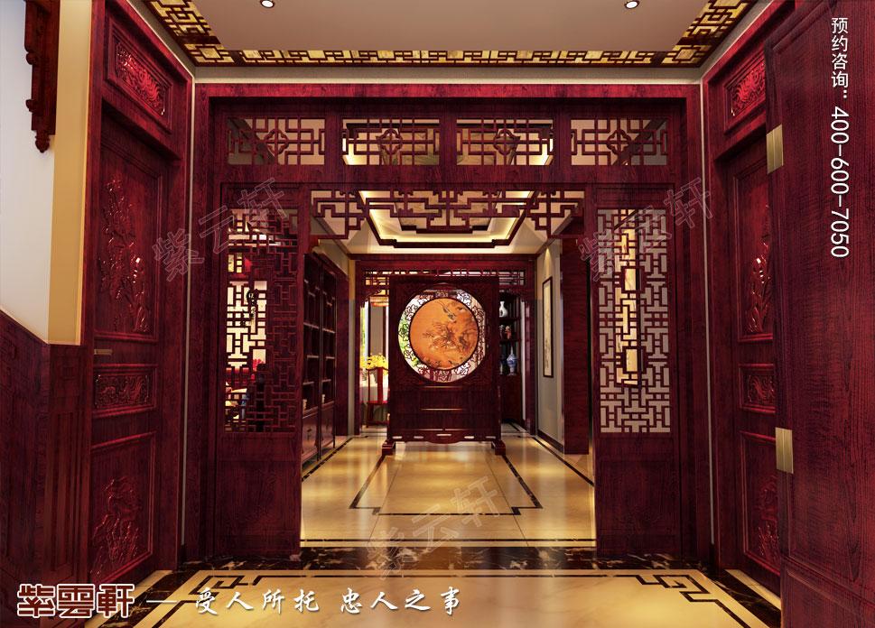 江苏昆山天伦随园古典中式装修风格,中式过道设计装修图