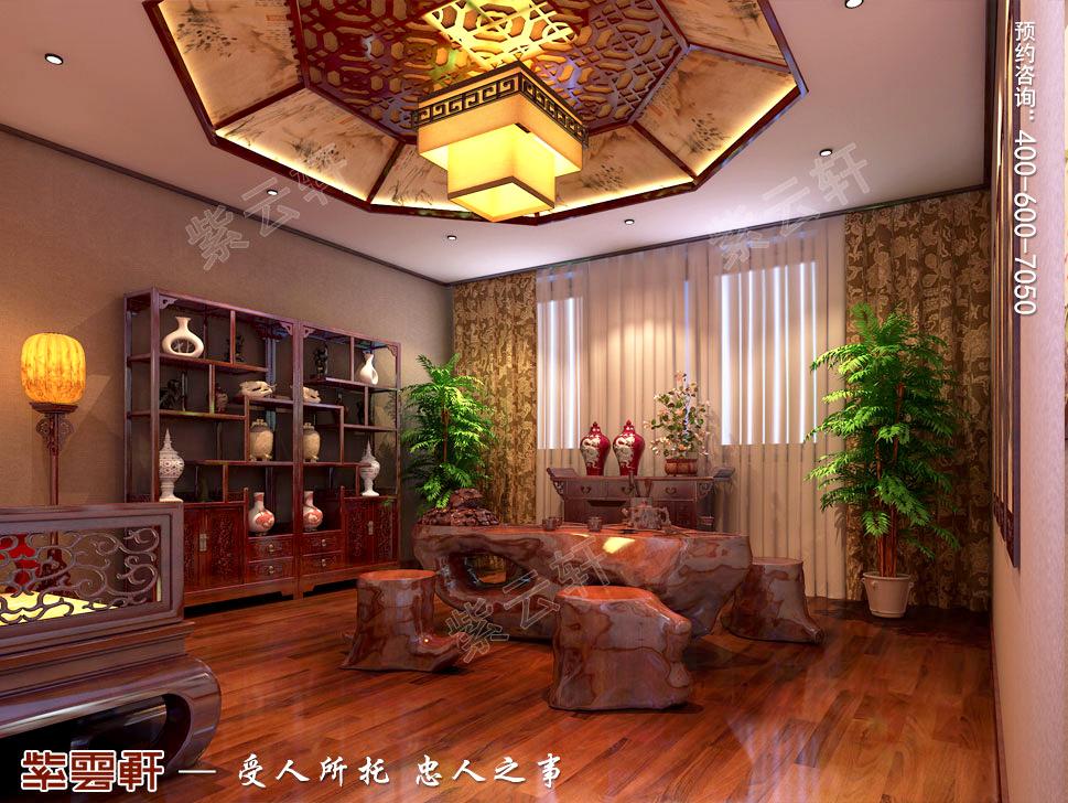 古典中式风格青岛别墅装修效果图,中式风格茶室设计