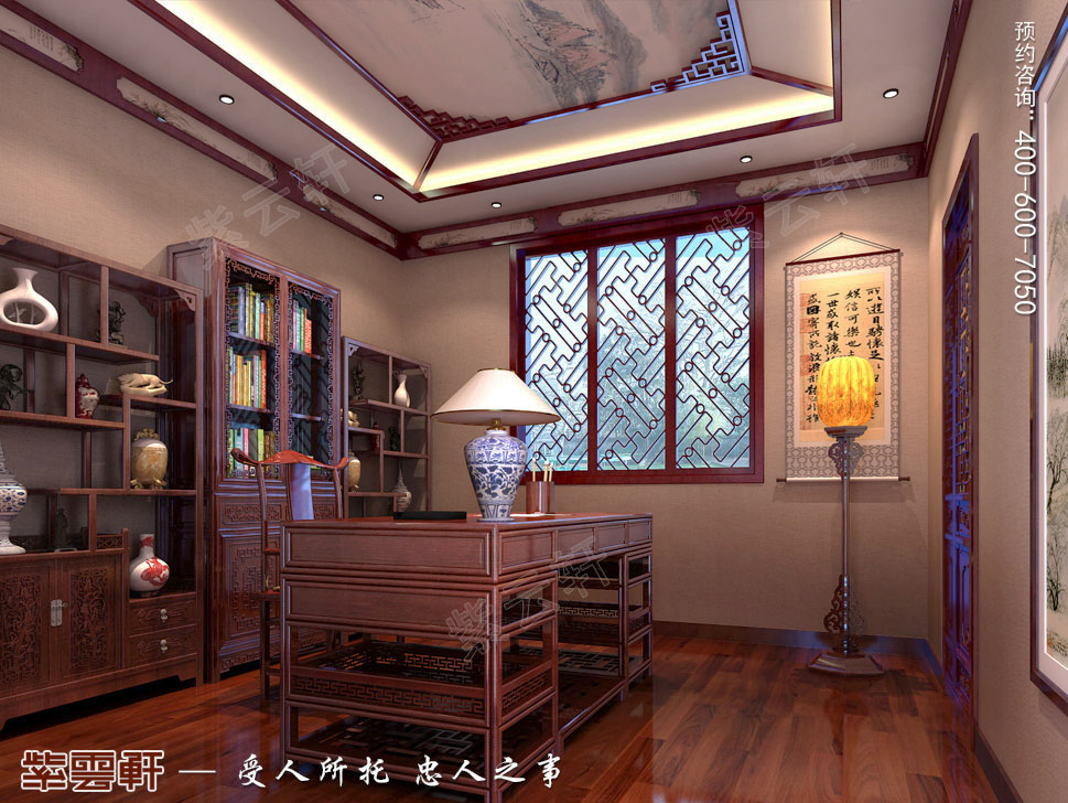 古典中式风格青岛别墅装修效果图,中式书房装修