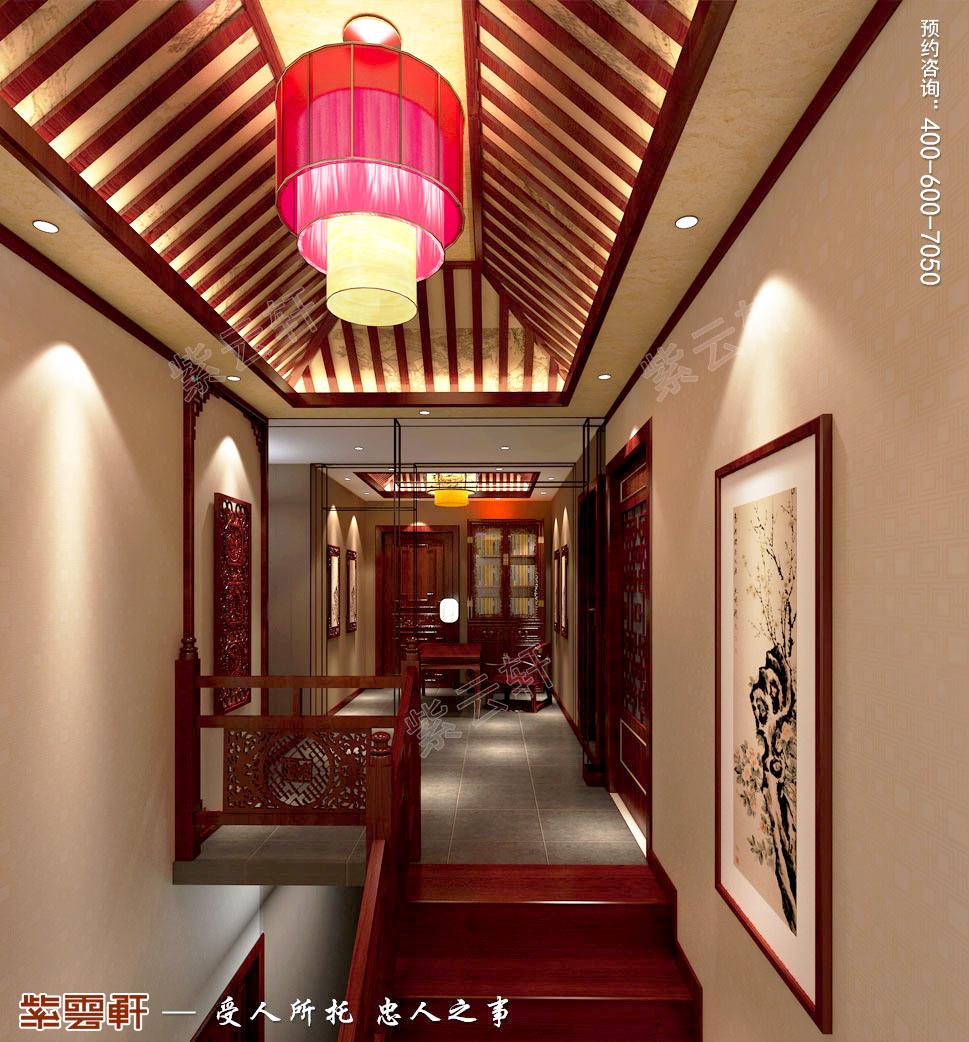 古典中式风格青岛别墅装修效果图,楼梯间中式设计