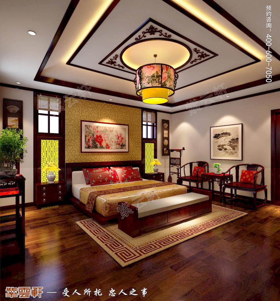古典中式风格青岛别墅装修效果图,主卧中式装修效果图