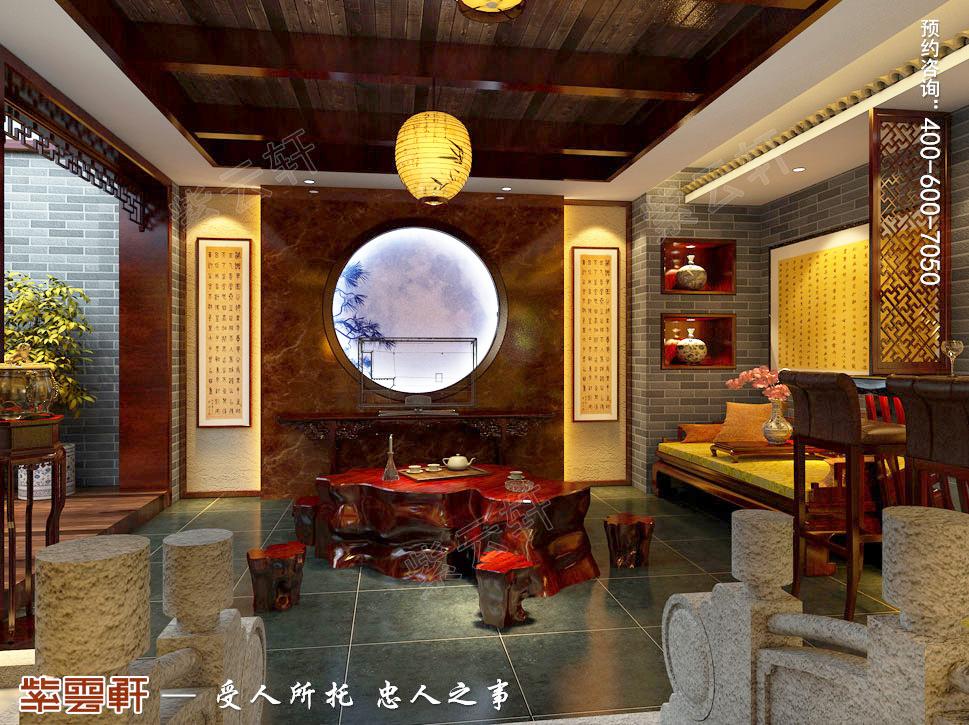 古典中式风格青岛别墅装修效果图,中式茶室设计