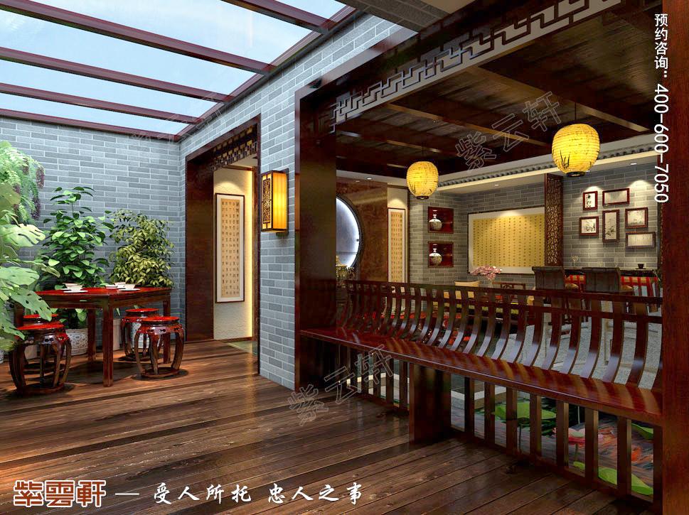 古典中式风格青岛别墅装修效果图,阳台中式装修设计