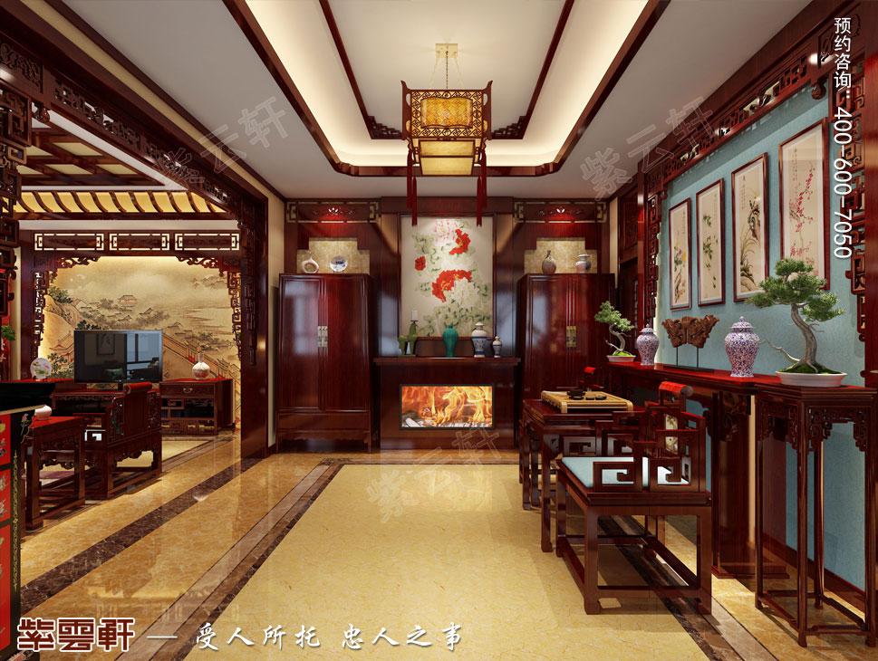 北京御汤山古典中式别墅装修效果图,中式风格门厅设计