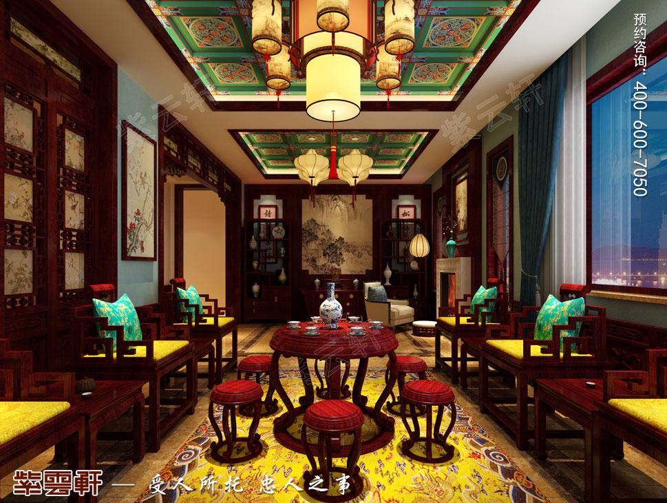 北京御汤山古典中式别墅装修效果图,复古中式风格中堂装修