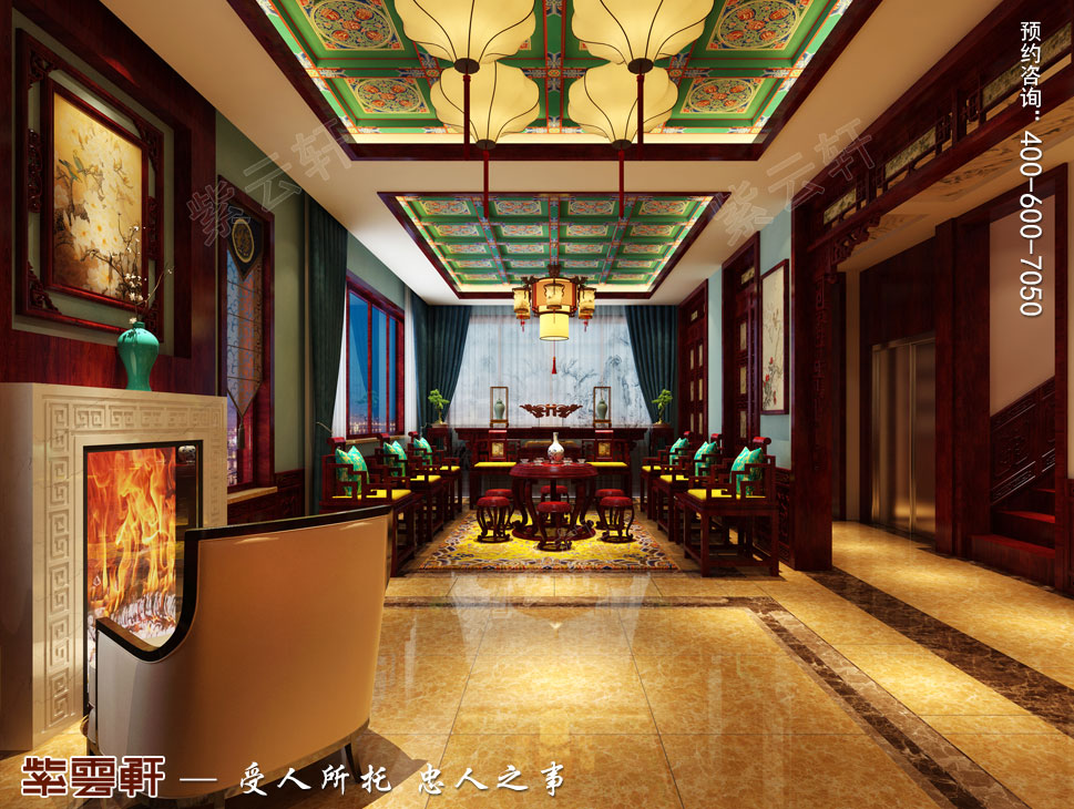 北京御汤山古典中式别墅装修效果图,复古中式风格中堂