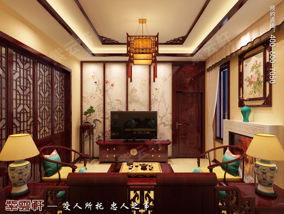 北京御汤山古典中式别墅装修效果图,起居室中式装修