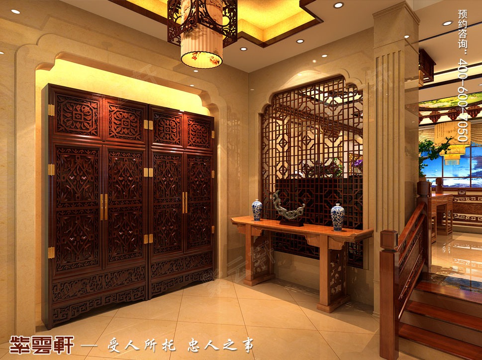 北京大兴别墅新中式装修效果图,门厅中式装修图