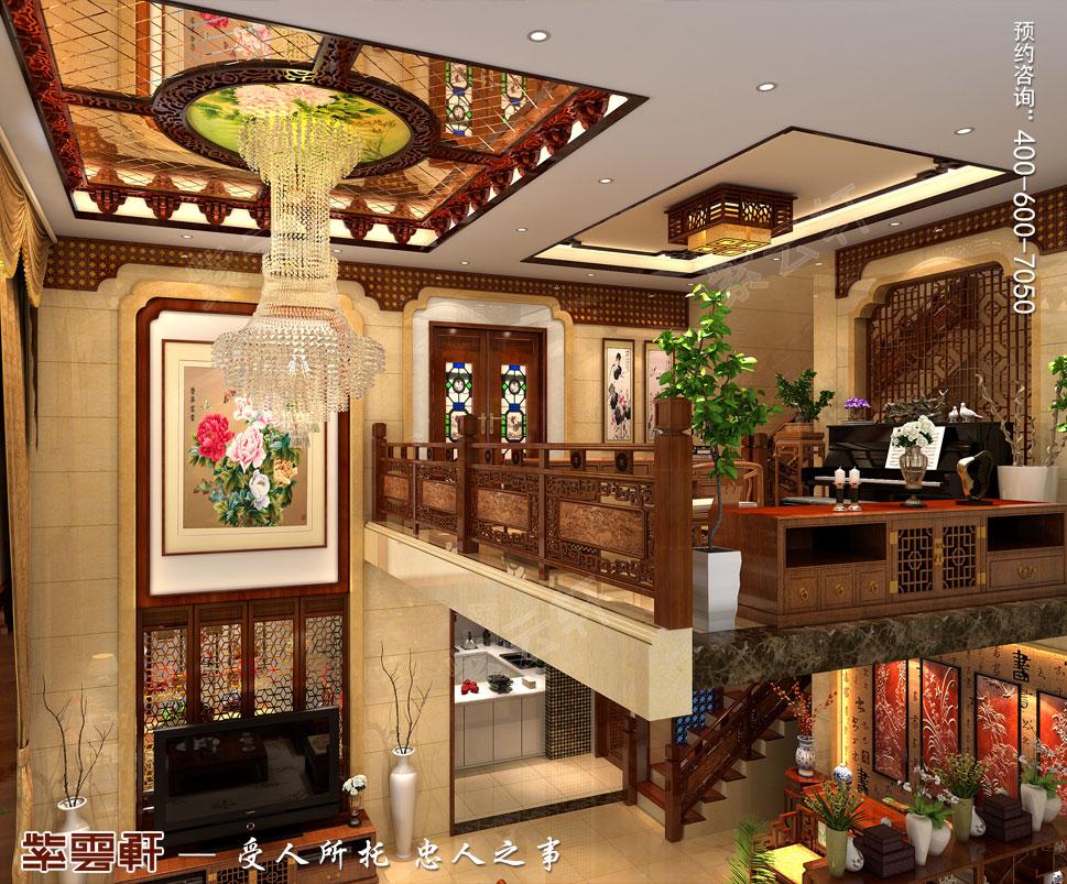 北京大兴别墅新中式装修效果图,中式风格客厅装修效果图