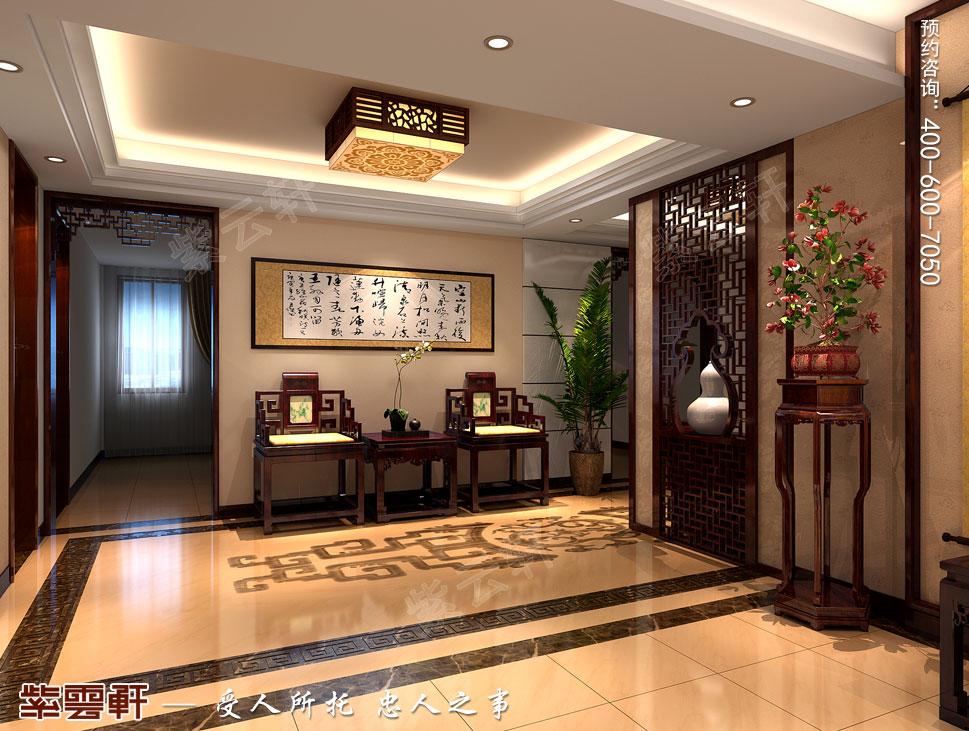 北京大兴别墅新中式装修效果图,中式过道设计图