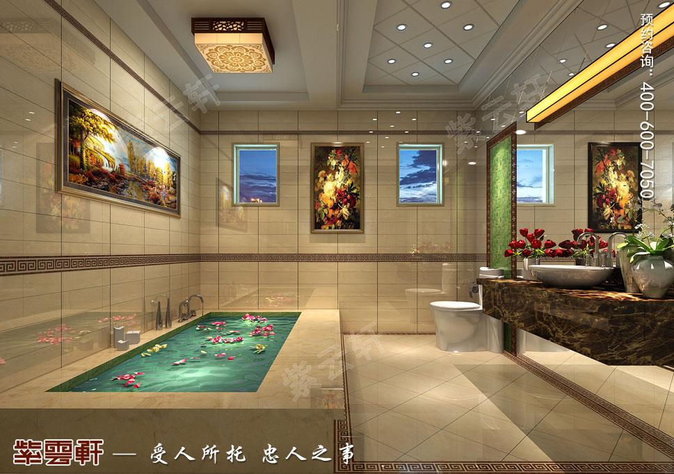 北京大兴别墅新中式装修效果图,卫生间中式设计