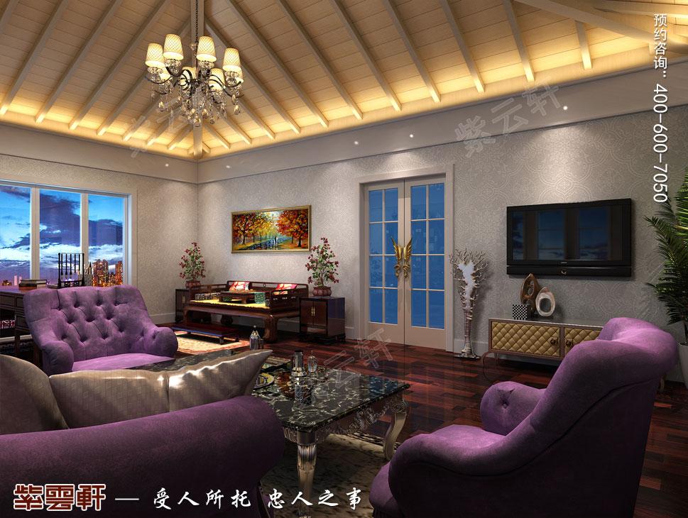 北京大兴别墅新中式装修效果图,中式影音室设计图