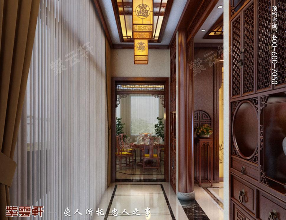 浙江东阳别墅简约中式装修效果图,玄关中式装修效果图