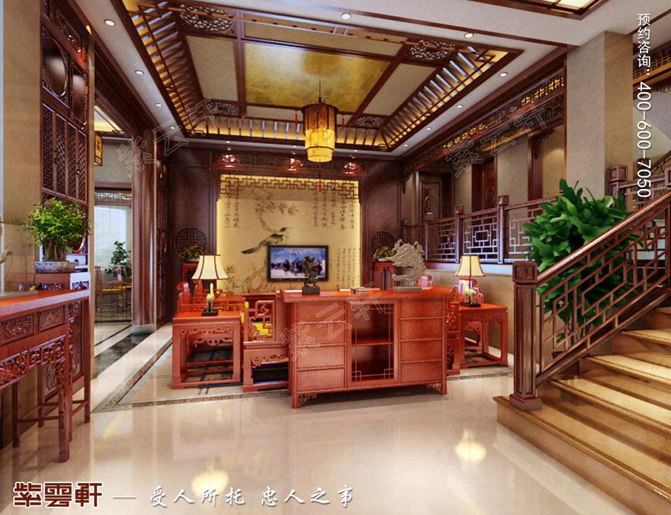 浙江东阳别墅简约中式装修效果图,客厅中式风格设计