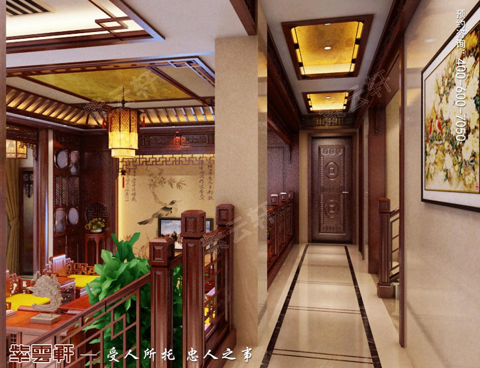 浙江东阳别墅简约中式装修效果图,过道中式装修效果图