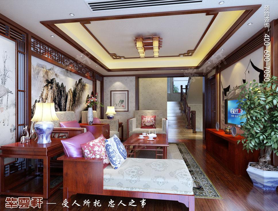 浙江东阳别墅简约中式装修效果图,起居室中式设计