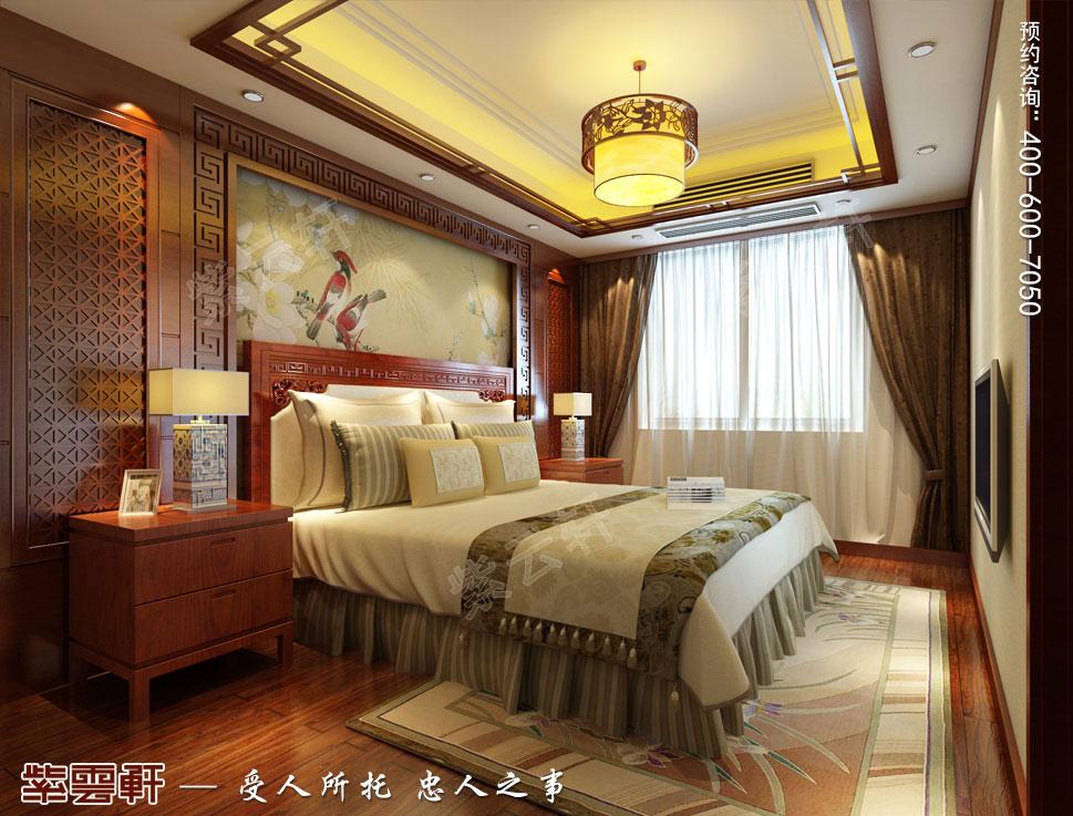 浙江东阳别墅简约中式装修效果图,一楼长辈房中式装修