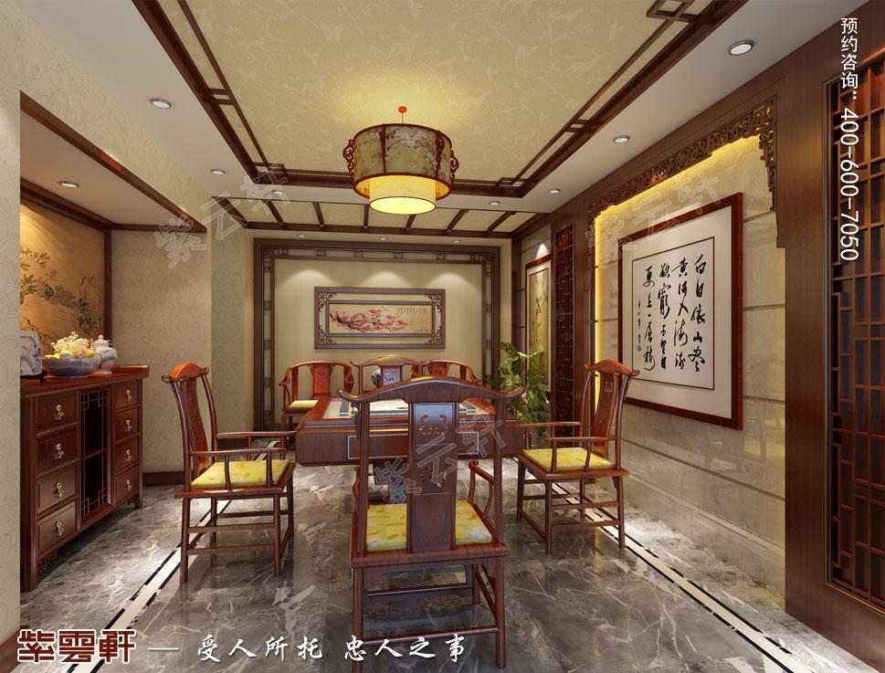 浙江东阳别墅简约中式装修效果图,地下麻将室中式风格装修图