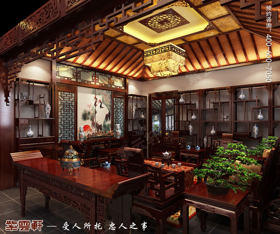 成都别墅豪宅装修中式效果图,中式客厅装修设计图
