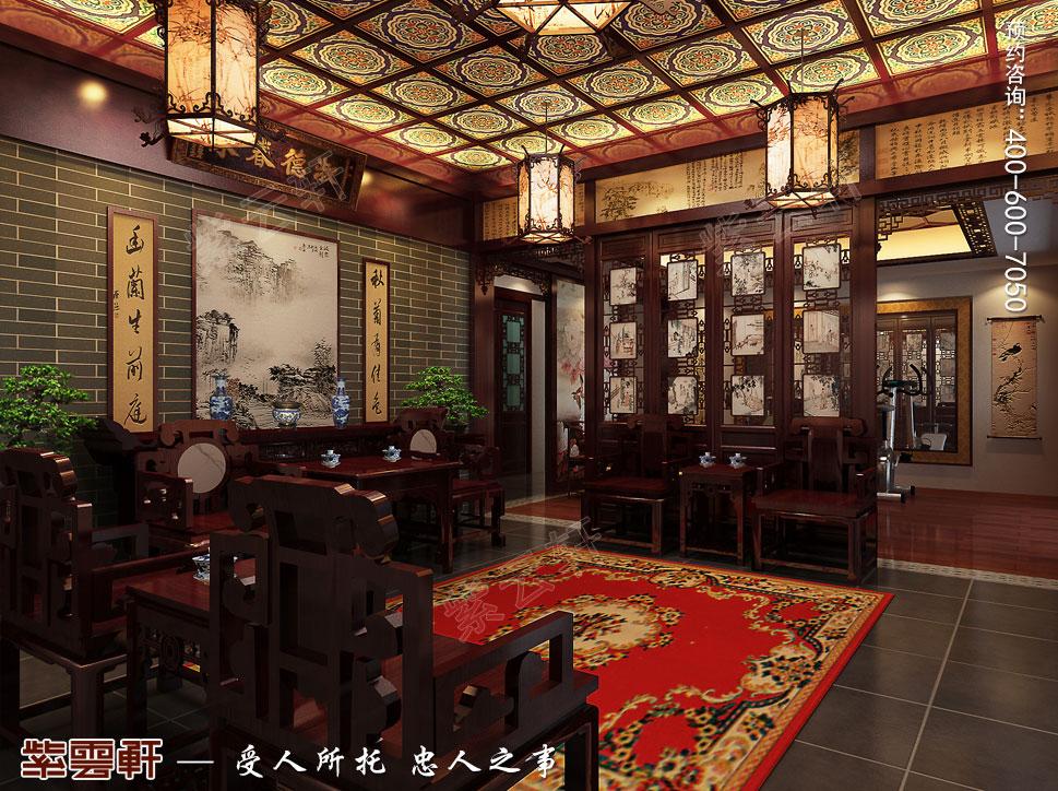 成都别墅豪宅装修中式效果图,中堂中式装修