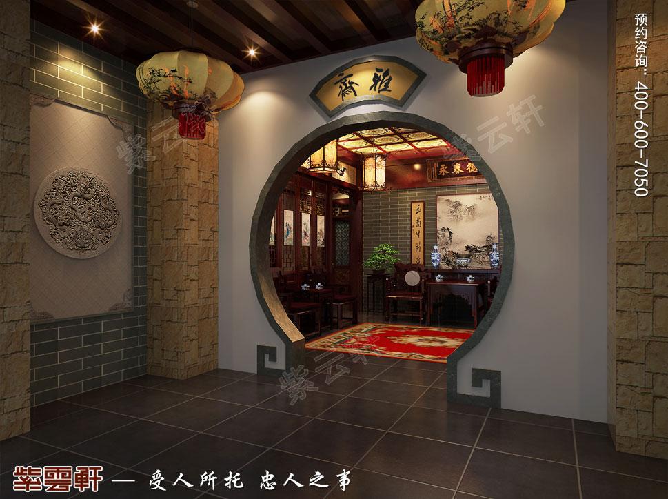 成都别墅豪宅装修中式效果图,过道中式装修