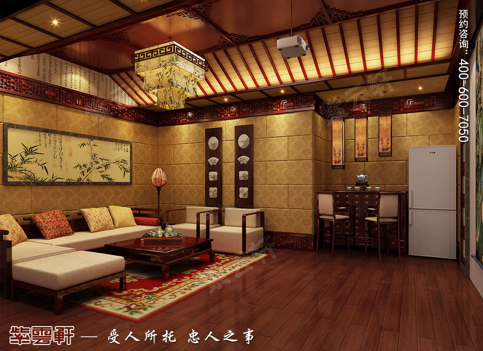 成都别墅豪宅装修中式效果图,影音室中式风格装修