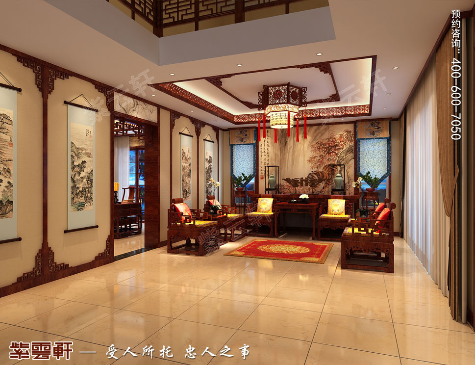 北京御汤山李总别墅装修效果图,客厅中式装修设计图