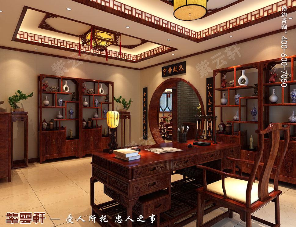北京御汤山李总别墅装修效果图,中式书房设计图