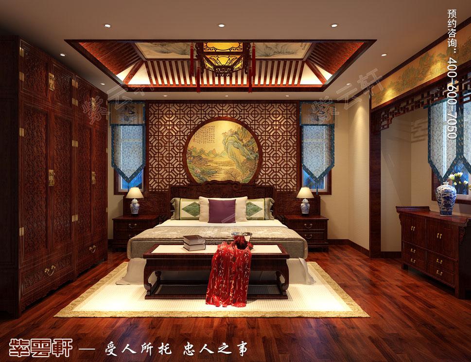 北京御汤山李总别墅装修效果图,中式风格老人房设计