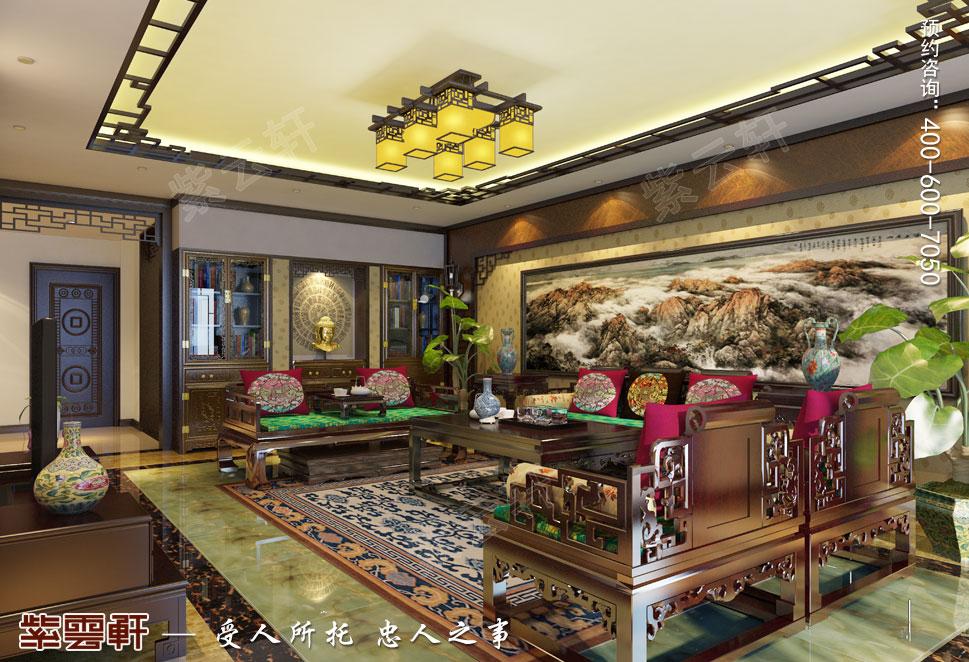 简约古典中式设计南京别墅装修案例欣赏,客厅中式装修设计图