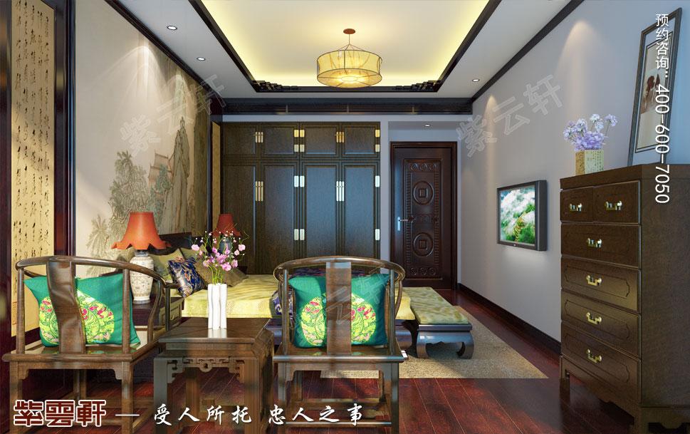 简约古典中式设计南京别墅装修案例欣赏,老人房中式装修