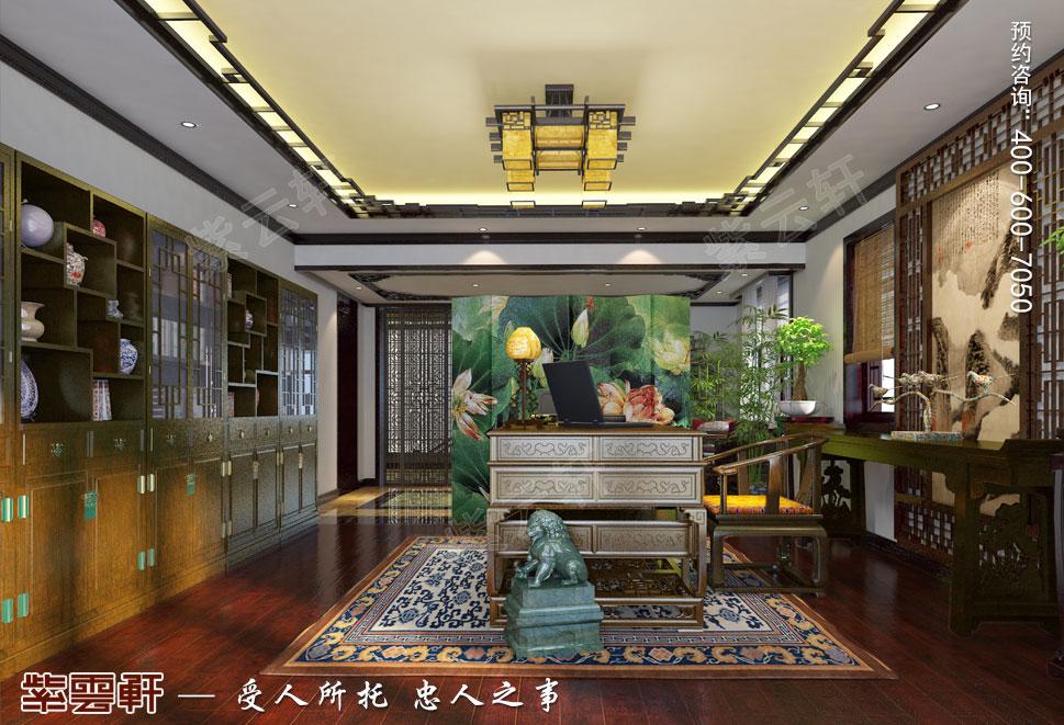 简约古典中式设计南京别墅装修案例欣赏,书房中式设计
