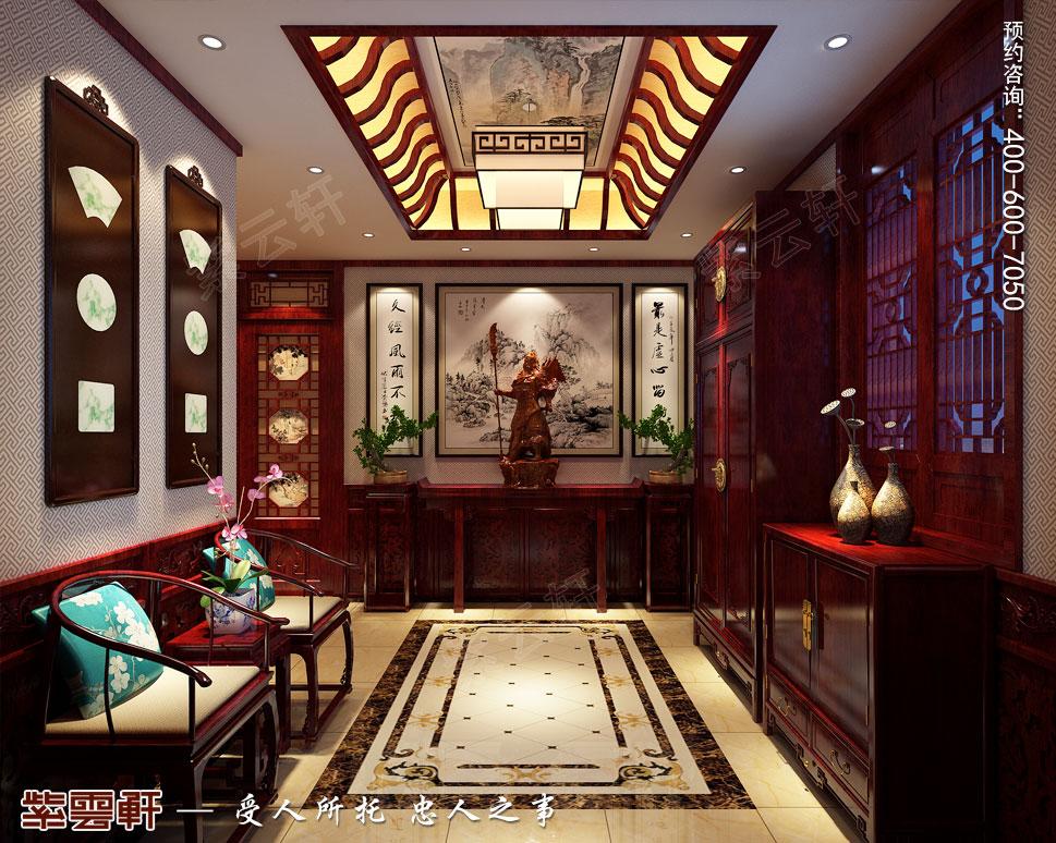 山东即墨别墅传统风格装修图片,玄关中式设计图