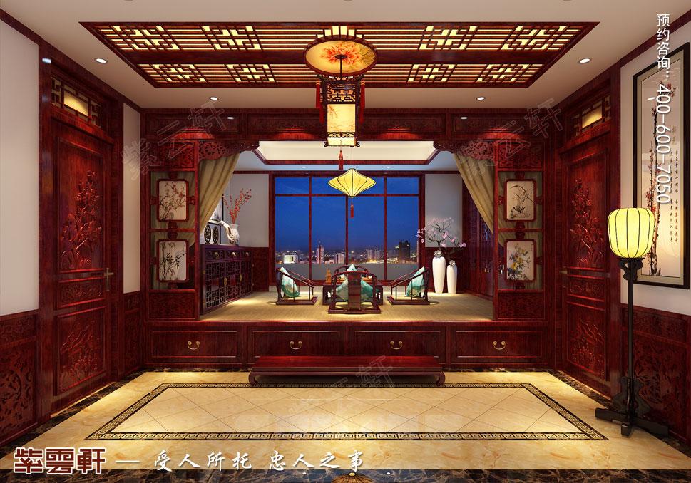 山东即墨别墅传统风格装修图片,暖阁茶区中式设计