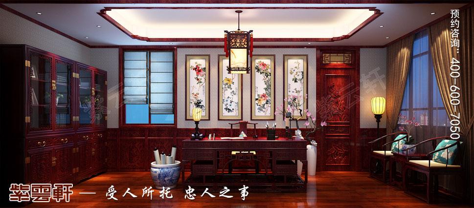 山东即墨别墅传统风格装修图片,书房中式装修时设计