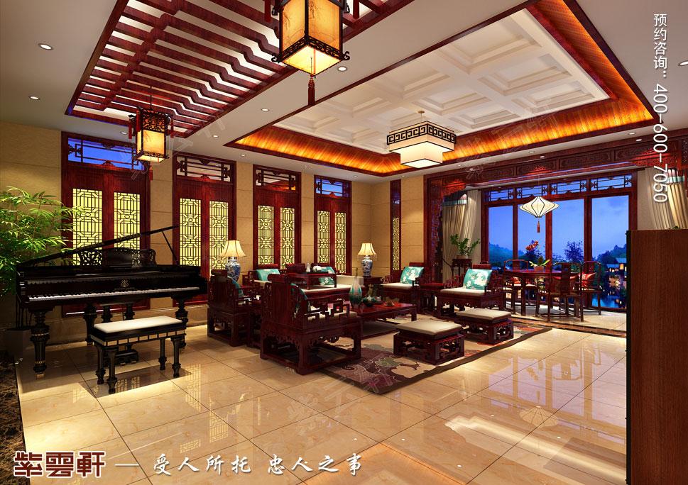 山东即墨别墅传统风格装修图片,起居室中式装修