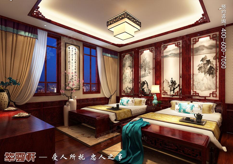 山东即墨别墅传统风格装修图片,客房中式设计