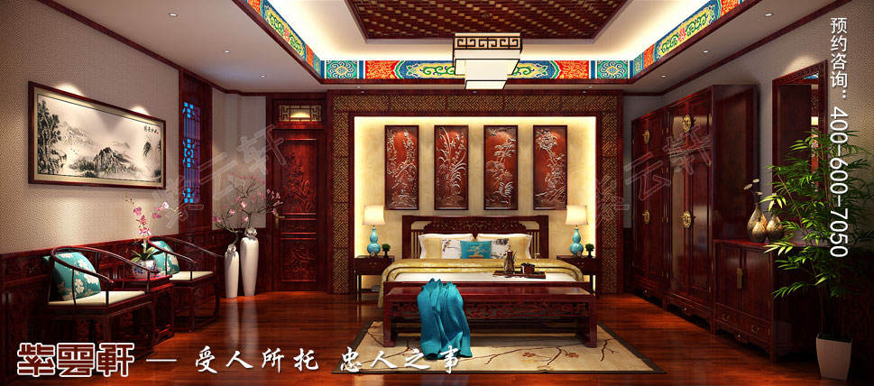 山东即墨别墅传统风格装修图片,老人房中式装修